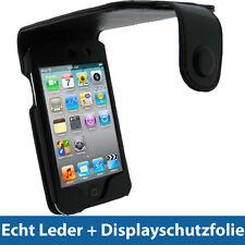 Schwarz Echtes Leder Tasche für Apple iPod Touch 4G 4te Gen 8/32/64gb Hülle Case