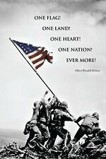 AMERICAN FLAG AT IWO JIMA - INSPIRATIONAL QUOTE POSTER 24x36 WORLD WAR II 36507