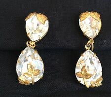 MIRIAM HASKELL EXQUISTIE VINTAGE CRYSTAL PEARL DROP EARRINGS ...SIGNED