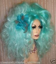 Drag Queen Wig Big Teased Extra Big Ice Berg Teal Blue Ltight Tips Long Curls