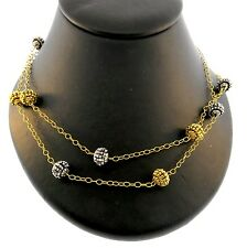 Miguel Ases Two Tone Miyuki Rondell Necklace Long-35Inches NWT Gorgeous! On SALE