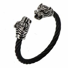 Mens Stainless Steel Tiger Head Twisted Cable Cuff Bangle Bracelet + Box #B245
