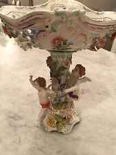 "ANTIQUE CARL THIEME 14"" DRESDEN FIGURAL WINGED CHERUBS COMPOTE CENTER PIECE N/R"
