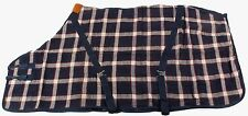 "72"" THERAPEUTIC NAVY PLAID THERMAL COTTON ALL PURPOSE HORSE SHEET BARN BLANKET"