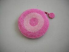 Vintage Pink Round Beaded Coin Purse