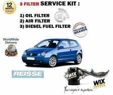 FOR VW POLO 1.9 SDi 64BHP 03/2002- NEW OIL AIR FUEL 3 FILTER SERVICE KIT