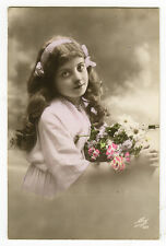 c 1916 child Children Long Haired DARLING GIRL tinted photo postcard