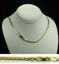 14K Two-Tone Yellow Gold Mariner Chain Necklace 3mm 16""