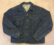 LEVIS Men's Denim Button Down Size 42 Dark Blue Western Trucker Jean Jacket