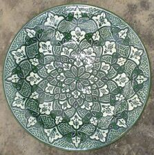 Grand Plat Traditionnel vintage signé Poterie Ceramique Marocaine