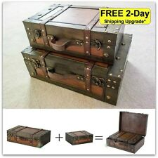 Vintage Steamer Trunk Old Fashioned Luggage Suitcase Antique Display Train Boxes