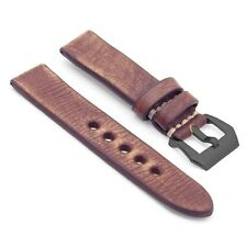 StrapsCo Distressed Vintage Leather Watch Band Mens Strap w/ Black Pre-V Buckle
