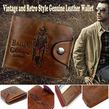 Mens Stylish Genuine Leather cowhide Wallet Brown Business Credit Card Holder