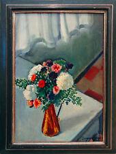 Eugen Spiro 1874-1972 Blumen Kupfervase 1960 Gemälde 55 x 38 cm Ausstellungsbild
