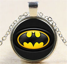 Vintage Superhero Batman Cabochon Silver Glass Chain Pendant Necklace W165