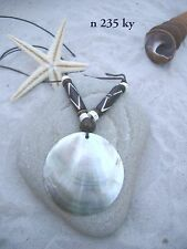 LARGE ROUND MUSSEL SHELL DISK NECKLACE WITH BEADS SURFER ADJUSTABLE CORD/ n235ky