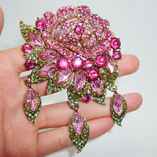 Art Deco style romantic charming flowers Rose Brooch Pin Pendant Pink Crystal