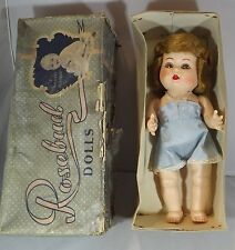 "VINTAGE 1950s BOXED 11"" HARD PLASTIC ROSEBUD GIRL DOLL IN ORIGINAL SUNSLIP"