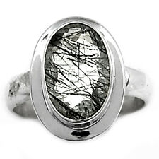Tourmalated Quartz (Black Rutile) 925 Sterling Silver Ring Jewelry s.8 BRFR289