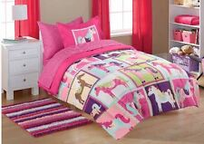 Bedding Sets Twin For Girls Kids Comforter Pink Horses Ponies Bed in a Bag New