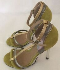 ASOS lime green & silver heeled sandals UK 5