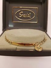 "Speidel AUTHENTIC VINTAGE NEW GOLD PLATED ID BRACELET WITH BEST CHARM 7"" LONG"