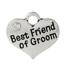 4 XSILVER TONE RHINESTONE 'BEST FRIEND OF GROOM' HEART CHARMS 16X14MM (No106)