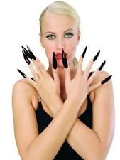 Long Black Fake Nails Halloween Costume Pointy Fingernails Self Adhesive Goth