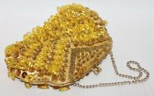 VINTAGE Retro 1960's Yellow Gold Beaded Sequins Evening Purse  #3