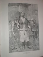 China A Boxer by H W Koekkoek 1900 old print