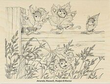 HOUSE MOUSE Fall Leaves Fence Wood Mounted Rubber Stamp STAMPENDOUS HMR42 New