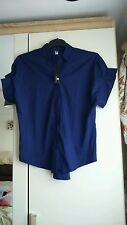Women's navy shirt, short gather sleeves, approx size 16/18, bnwt