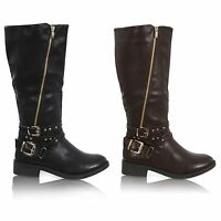 WOMENS LADIES MID CALF STUDDED ZIP UP UNDER KNEE BUCKLE BOOTS SHOES SIZE 3-8