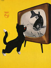 PHILIPS BLACK WHITE TV CAT FISH ADVERTISING FINE VINTAGE POSTER REPRO LARGE