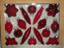 Red Glass Christmas Tree Ornament Set 16 Holiday Tree Glitter Star Round Silver