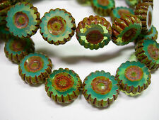 15 12mm Czech Glass Turquoise Opal Picasso Daisy Flower Coin Beads