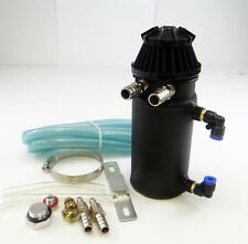 Black Oil Reservoir Catch Can Tank Breather Filter Baffled Aluminum
