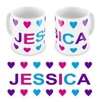 Personalised Printed Children's Kids Girls Hearts Any Name Mug Cup Gift Boxed