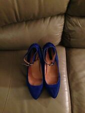 Ann Taylor Blue Calf Hair Wedge Heels Size 11