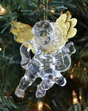 Vintage Christmas Ornament - Acrylic Angel with Gold Metallic Wings & Instrument