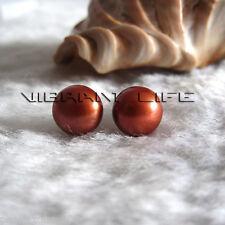 9.0-9.5mm Coffee Freshwater Pearl Stud Earrings AC