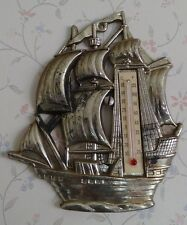 Vintage Wall Thermometer, Ship w/Sails, Plastic - Hong Kong, Nautical Décor