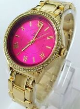 Ladies Gold Wrist Watch Classic Metal Strap Luxury Diamante Crystal Pink Dial
