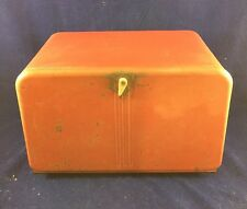 50's Retro Red Rectangular Tin Bread Box With Bakelite Handle Beauty Box