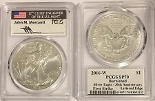 2016 W BURNISHED SILVER EAGLE PCGS SP70 FLAG MERCANTI FIRST STRIKE EDGE LETTERS