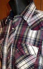 Wrangler Heavy Cotton Flannel Plaid L/S Western Pearl Snap Shirt Size 2XL  XXL
