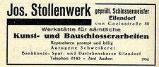 Jos.Stollenwerk KUNST-UND BAUSCHLOSSEREI Historische Reklame von 1926