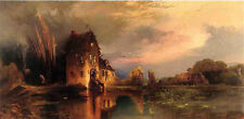 Wonderful view Oil painting Thomas Moran - Haunted House at sunset - canvas