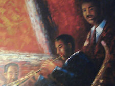jazz band large oil painting canvas saxophone trumpet musical black original art