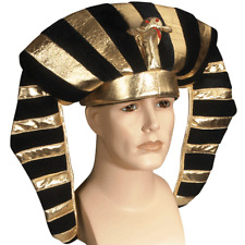 ADULT BLACK GOLD EGYPTIAN PHARAOH KING TUT CLEOPATRA COSTUME HAT HEADPIECE CROWN
